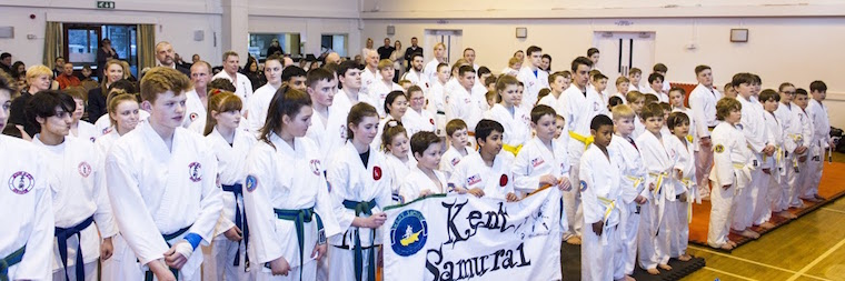 Line Up at Kent Jikishin Ju Jitsu Competition 2016